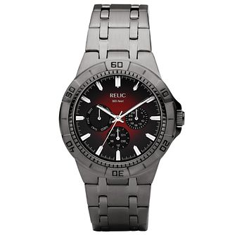 Relic Men's Red Dial Gunmetal Ion-Plated Bracelet Watch - Product number 4608682