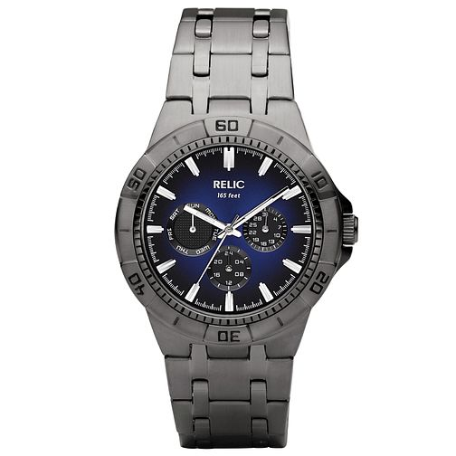 Relic Men's Blue Dial Gunmetal Ion-Plated Bracelet Watch - Product number 4608690