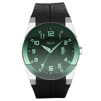 Relic Men's Green Dial Black Rubber Strap Watch - Product number 4608992