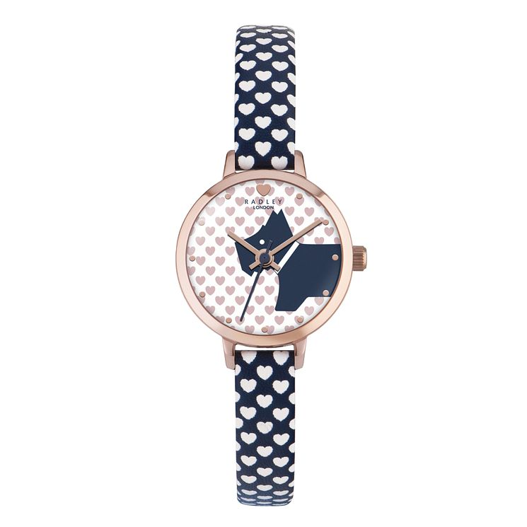 Radley Ladies' Heart Print Navy Strap Watch - Product number 4610385