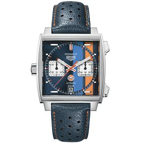 TAG Heuer Monaco Gulf Men's Square Blue Strap Watch - Product number 4611829