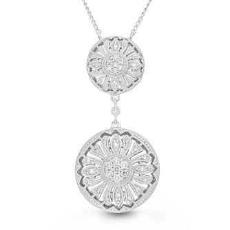 Neil Lane Silver 0.15ct Double Circle Diamond Pendant - Product number 4617878