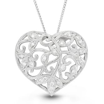 Neil Lane Designs Silver 0.14ct Diamond Heart Pendant - Product number 4617924