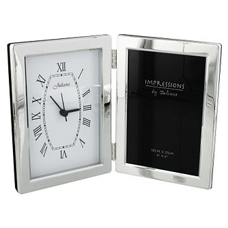 "Juliana Silver-Plated Clock & Photo Frame 4""x 6"" - Product number 4619021"