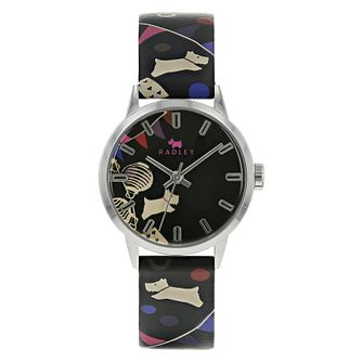 Radley Circus Dog Ladies' Black Printed Leather Strap Watch - Product number 4623231