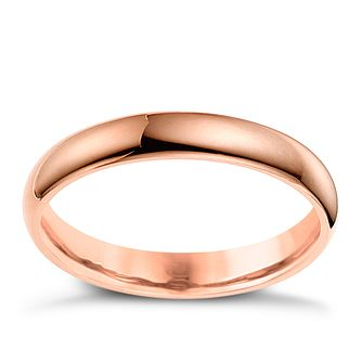 9ct rose gold 3mm super heavyweight court ring product number 4632818 - Ring Wedding