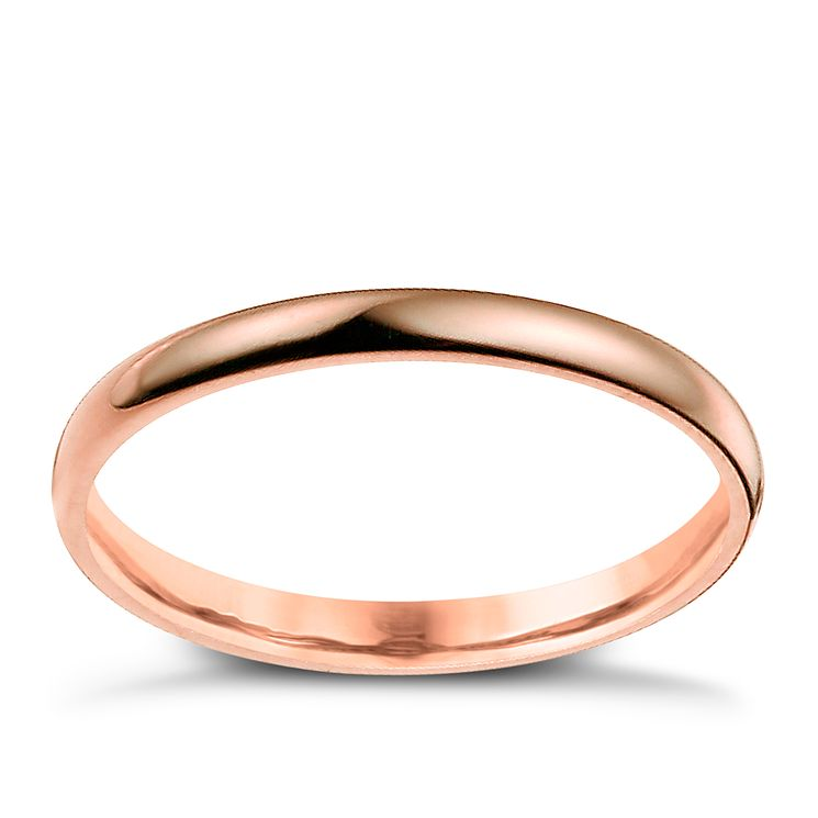 9ct rose gold 2mm extra heavy D shape ring - Product number 4634918