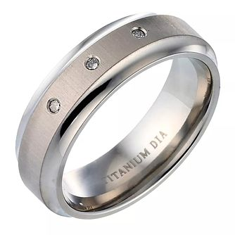 Men's Titanium Diamond Engagement Ring - Product number 4635124