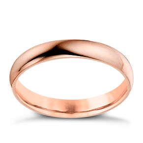 9ct rose gold 3mm D shaped plain court ring - Product number 4635361