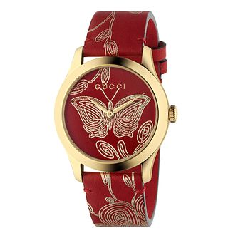 Gucci G-Timeless Ladies' Yellow Gold Plated Red Strap Watch - Product number 4639324