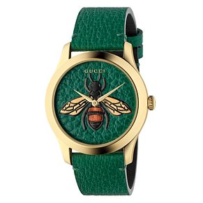 Gucci G-Timeless Ladies' Gold Plated Green Strap Watch - Product number 4639413