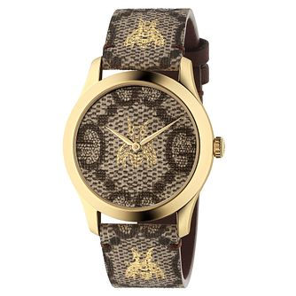 Gucci G-Timeless Ladies' Gold Plated Grey Strap Watch - Product number 4639529