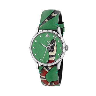Gucci G-Timeless Snake Dial Green Leather Strap Watch - Product number 4639553