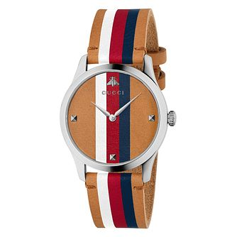 Gucci G-Timeless Unisex Striped Brown Strap Watch - Product number 4639782