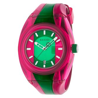 Gucci Sync Men's Green and Pink Stripe Rubber Strap Watch - Product number 4639839