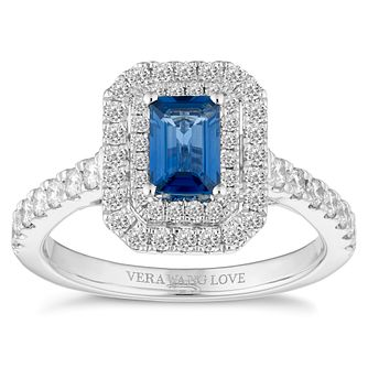 Vera Wang 18ct White Gold 0.58ct Step Cut Sapphire Ring - Product number 4642775