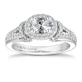 Vera Wang 18ct White Gold 0.95ct Oval Halo Diamond Ring - Product number 4643216