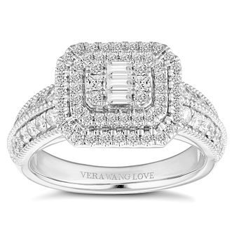 Vera Wang 18ct White Gold 0.95ct Cluster Ring - Product number 4644158