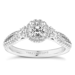 Vera Wang 18ct White Gold 0.69ct Halo Engagement Ring - Product number 4645480