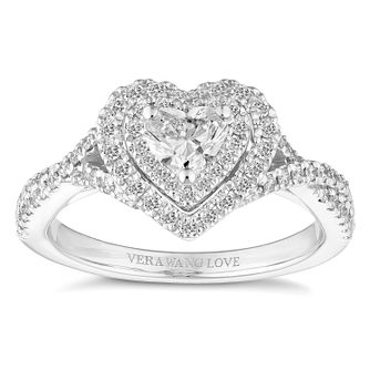 Vera Wang 18ct White Gold 0.70ct Heart Double Halo Ring - Product number 4645871