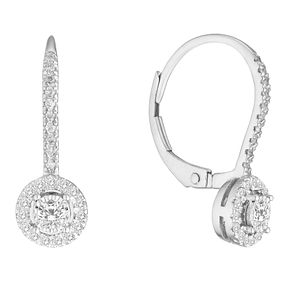 9ct White Gold 1/3ct Cluster Hinged Earrings - Product number 4646916