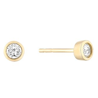 9ct Yellow Gold Round Brilliant Cut Diamond Earrings - Product number 4646983