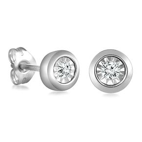 9ct White Gold Illusion Setting Diamond Earrings - Product number 4648331