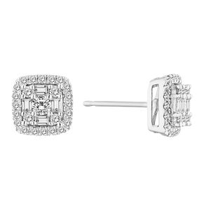 9ct White 1/2ct Cluster Halo Earrings - Product number 4648374
