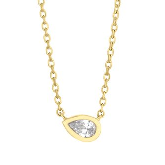 9ct Yellow Gold Diamond Pear Cut Necklace - Product number 4648382