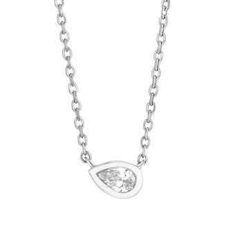 9ct White Gold Diamond Pear Cut Necklace - Product number 4648390