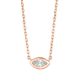 9ct Rose Gold Marquise Cut Diamond Necklace - Product number 4648439