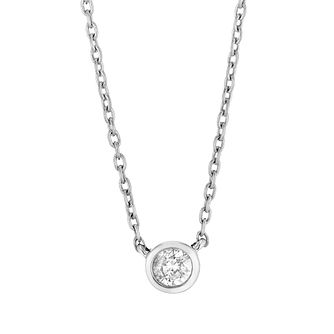 9ct White Gold Round Brilliant Cut Diamond Necklace - Product number 4648455