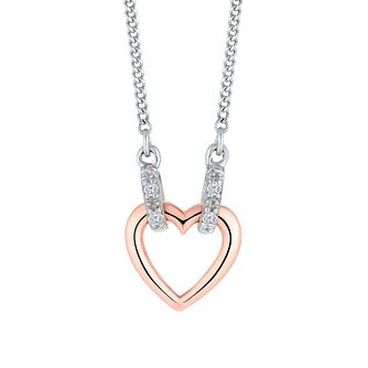 Sterling Silver 9ct Rose Gold Diamond Heart Necklet - Product number 4648552