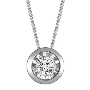 9ct White Gold Illusion Setting 0.10ct Diamond Pendant - Product number 4648587