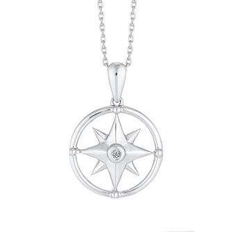Sterling Silver Northern Star Diamond Pendant - Product number 4648846