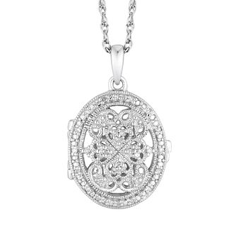 Sterling Silver Diamond Oval Milgrain Detailed Locket - Product number 4650689