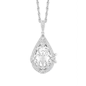 Sterling Silver Diamond Pear Vintage Detail Locket - Product number 4650697