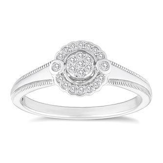 Sterling Silver Diamond Cluster Ring - Product number 4650840