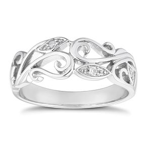 9ct White Gold Diamond Leaf Ring - Product number 4651723