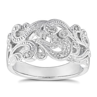 Sterling Silver Diamond Leaf Milgrain Ring - Product number 4652584