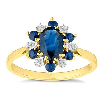 9ct Yellow Gold Sapphire and Diamond Cluster Ring - Product number 4654773