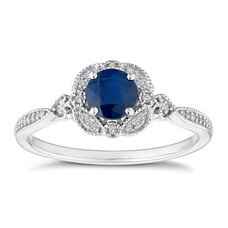 9ct White Gold Sapphire and Diamond Ring - Product number 4654919