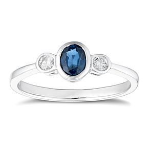 9ct White Gold Sapphire and Diamond Trilogy Ring - Product number 4655710