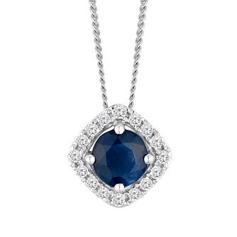 9ct White Gold Sapphire and Diamond Halo Pendant - Product number 4657780