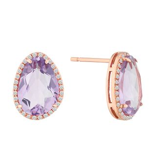 9ct Rose Gold Amethyst and Diamond Earrings - Product number 4657799