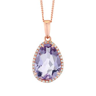 9ct Rose Gold & Diamond Amethyst Pendant - Product number 4657810