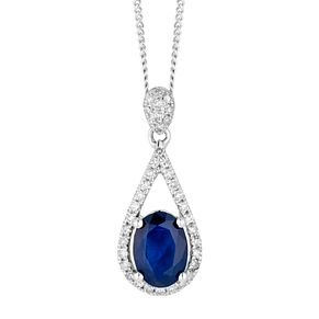 9ct White Gold Sapphire and Diamond Pendant - Product number 4657888