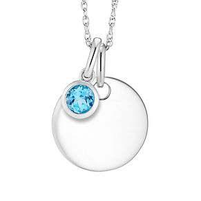 Silver Blue Topaz Disc Pendant - Product number 4657942