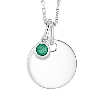 Silver Emerald Disc Pendant - Product number 4657977