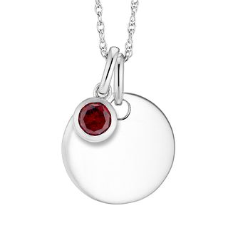 Silver Garnet Disc Pendant - Product number 4657985